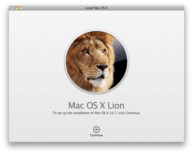 Mac OS-X Lion DVD or USB stick Install