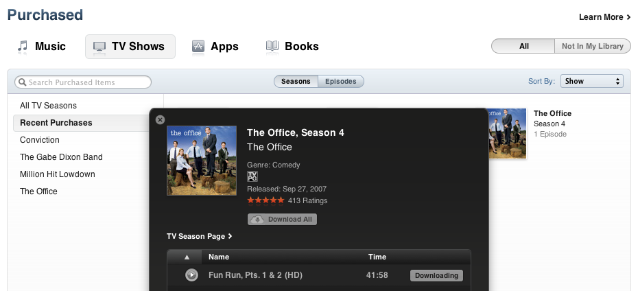 Apple iTunes Purchased Tv Shows