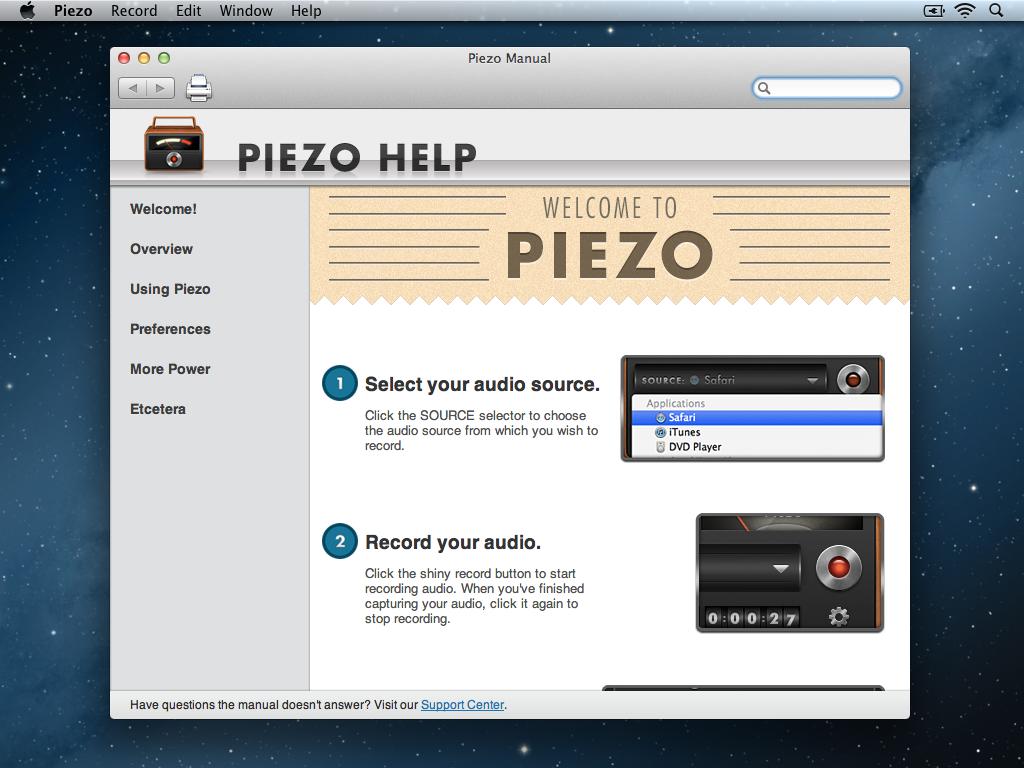 Piezo Welcome Screen