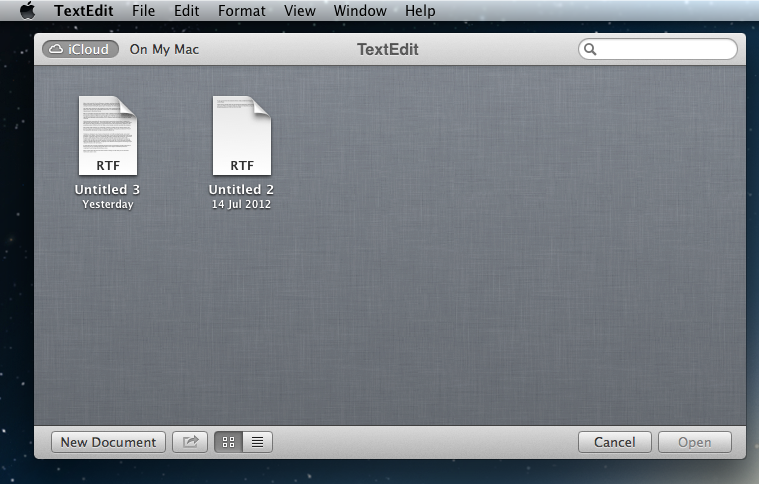 Mountain Lion iCloud Text Files