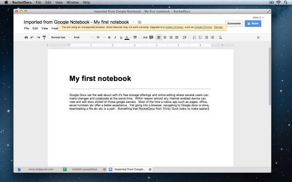 RocketDocs NoteBook 600x375 RocketDocs App : A Google Drive & Docs Client