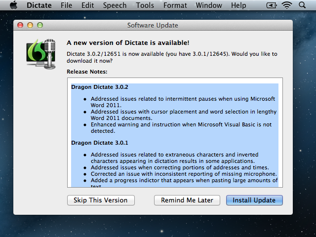 Dragon Dictate 3.0.2