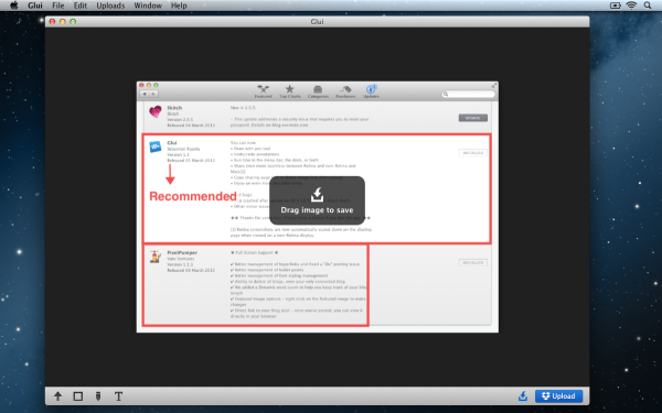 Glui Saving Locally 600x375 Glui 1.1 : Capture, annotate and share screenshots, more than Just a Skitch Replacement