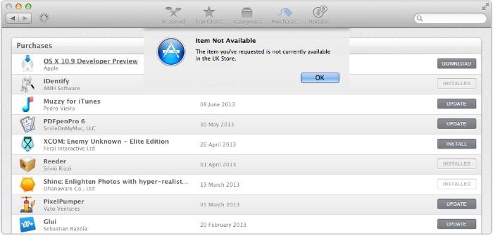 OS X Mavericks Developer Preview 4 Not AVailable in UK OS X Mavericks Developer Preview 4 Build: Available