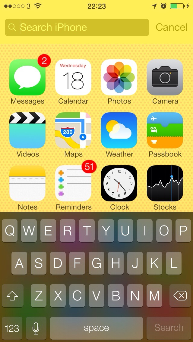 Spotlight in iOS 7