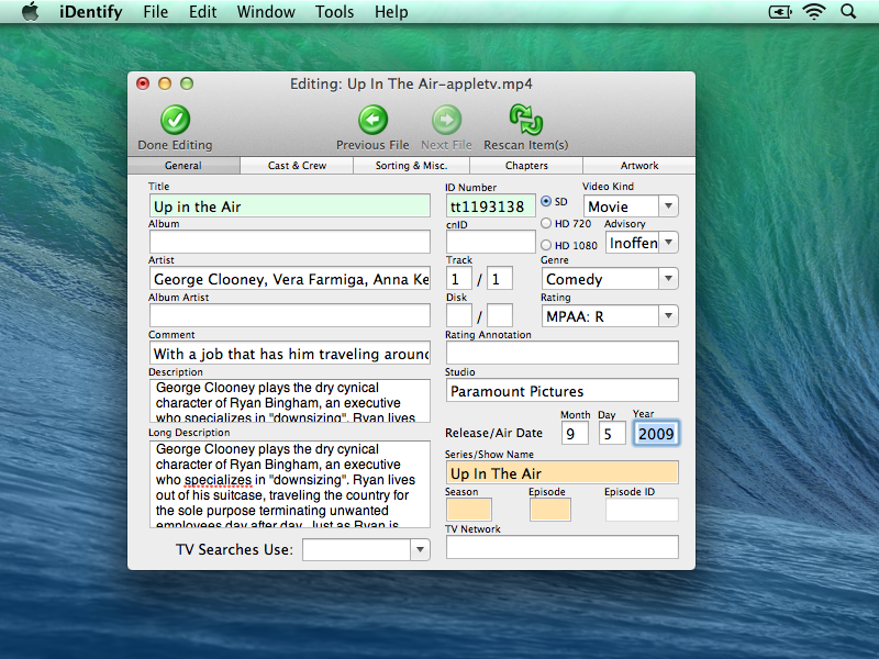 iDentify Editing Data 4 Complete Your iTunes Video and Movie Information with iDentify 2