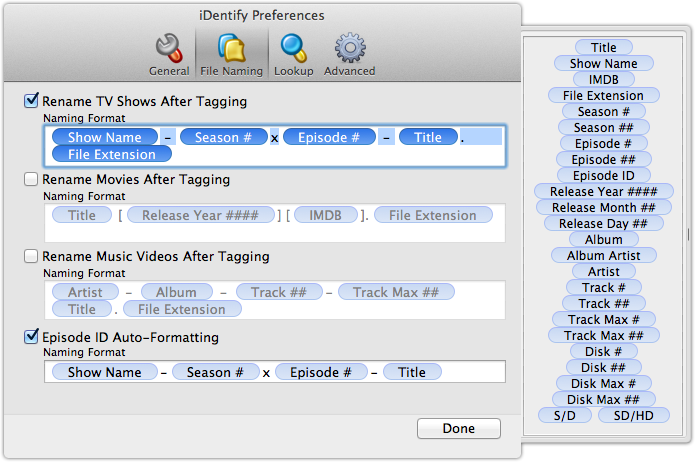 iDentify File Naming Preferences Complete Your iTunes Video and Movie Information with iDentify 2