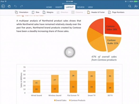 event word screenshot 586x440 Microsoft Office For iPad Is Now A Reality