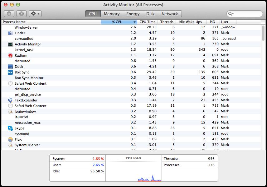 Mavericks Activity Monitor CPU Tab Differences Between OS X Yosemite And OS X Mavericks Activity Monitor