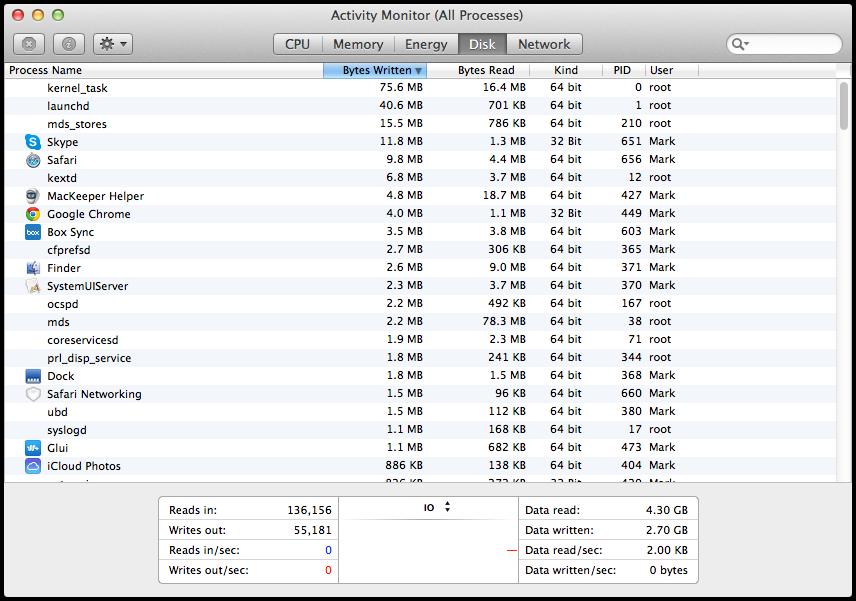 Mavericks Activity Monitor Disk Tab Differences Between OS X Yosemite And OS X Mavericks Activity Monitor