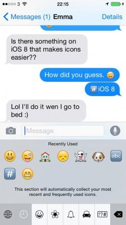 iMessage Emoji 1  247x440 Getting Around Messages in iOS 8