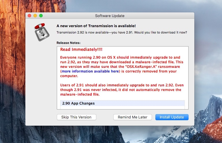 "Transmission ""OSX.KeRanger.A"" ransomware"