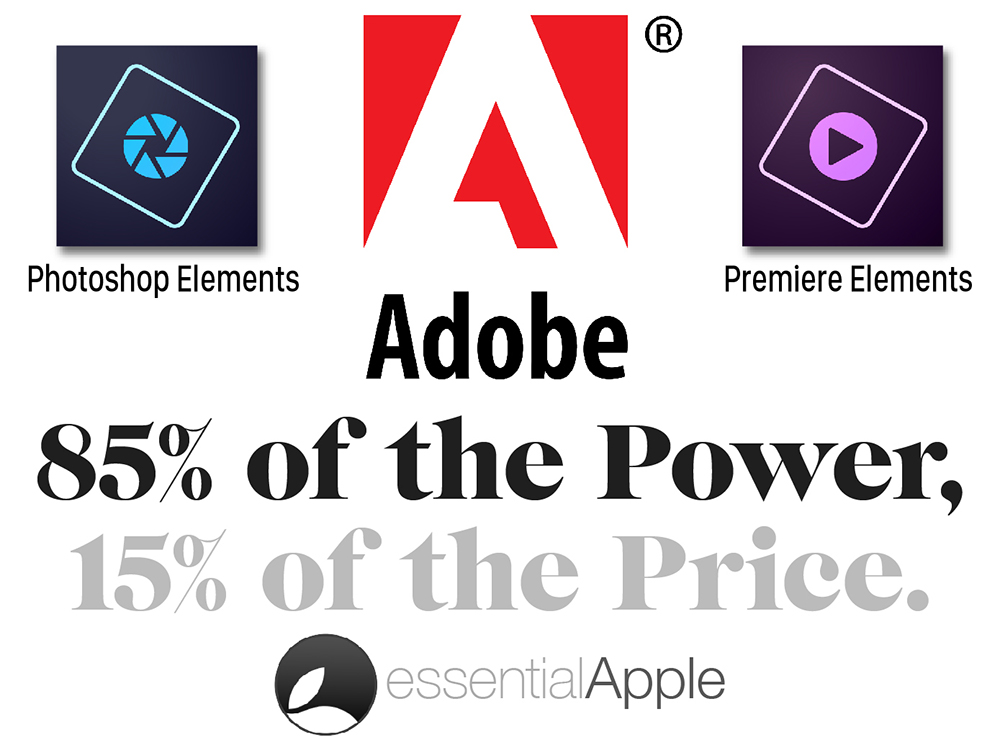 Adobe Elements 85% of the Power, 15% of the Price